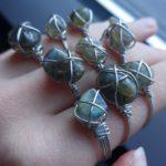 Wrapped Rings Silver wrap labradorite 007