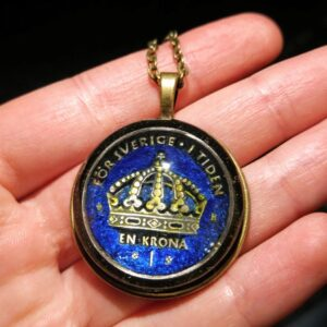 Sweden, 1 Krona, Blue & Black, Brass Settings