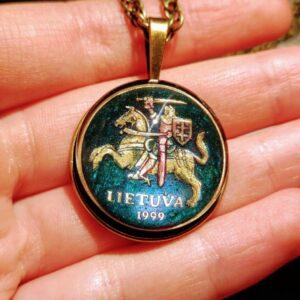 Latvia, 1999, 20 Centu, Dark Emerald, Brass Settings