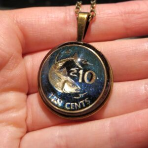 Seychelles, 10 Cents, 2012, Dark Blue, Sky Blue & Turquoise, Brass Settings