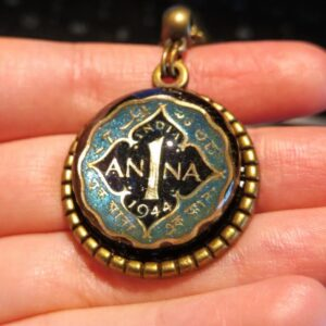 India, 1 Anna 1944, Dark Blue & Turquoise, Brass Settings