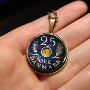 Denmark, 1967, 25 ore, Dark Blue, Brass settings