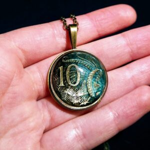 Australia, 10 Cents, Black & Turquoise, Brass Settings