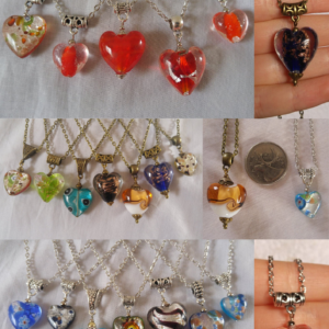 Heart-shaped Colorful Fusion Glass Pendants