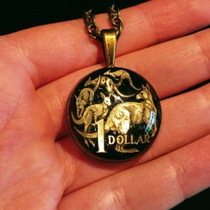 Australia, 1 Dollar, 1998, Black & Natural, Brass Settings