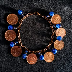 Canadian Pennies & Blue Beads Dangle Bracelet