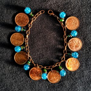 Canadian Pennies & Turquoise & Aqua Beads Dangle Bracelet