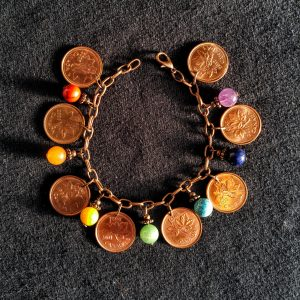 Canadian Pennies & 7 Chakras Beads Dangle Bracelet