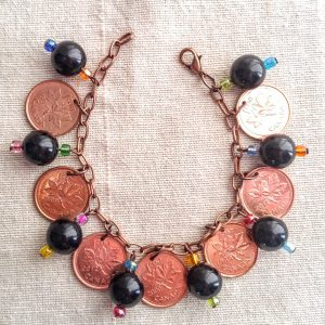 Canadian Pennies & Black resin & Multicolored seed beads Dangle Bracelet